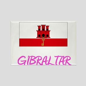 Gibraltar Flag Artistic Pink Design Magnets