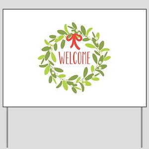 Christmas Mistletoe Wreath Welcome Yard Sign