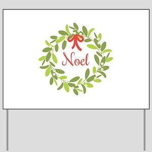 Christmas Mistletoe Wreath Noel Yard Sign