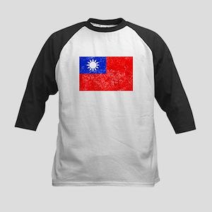 Distressed Taiwan Flag Baseball Jersey