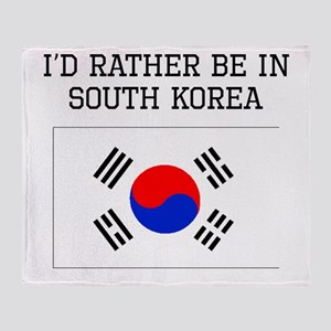 Id Rather Be In South Korea Throw Blanket