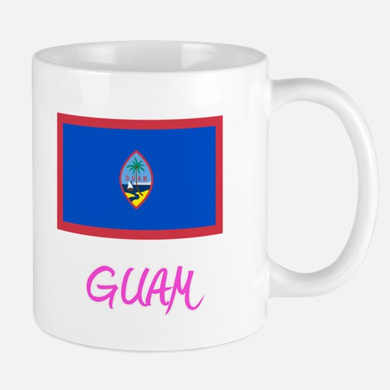 Guam Flag Artistic Pink Design Mugs