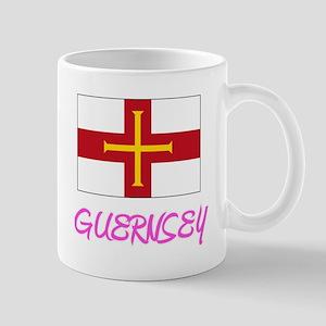 Guernsey Flag Artistic Pink Design Mugs