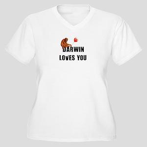 Darwin Loves You Women's Plus Size V-Neck T-Shirt