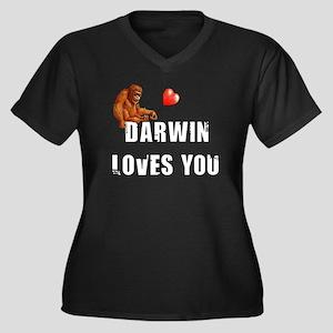 Darwin Loves Women's Plus Size V-Neck Dark T-Shirt