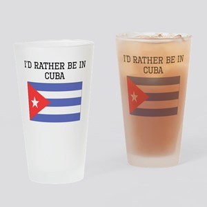Id Rather Be In Cuba Drinking Glass
