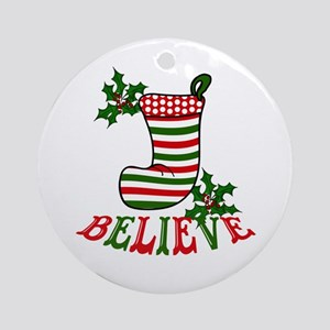 Christmas Stocking and Holly Beli Ornament (Round)