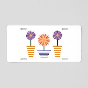 Flower Pots Aluminum License Plate