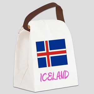 Iceland Flag Artistic Pink Design Canvas Lunch Bag