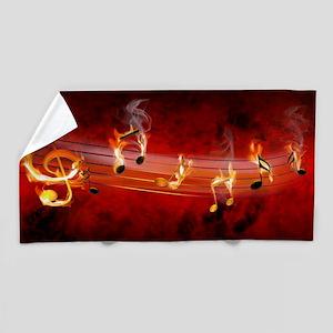 Hot Music Notes Beach Towel