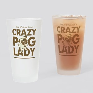 Crazy Pug Lady T Shirt and Items -  Drinking Glass
