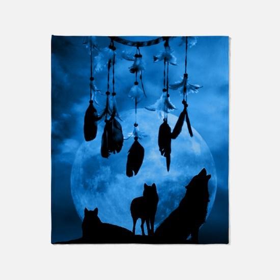 Dreamcatcher Wolves Throw Blanket