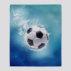 Soccer Water Splash Throw Blanket