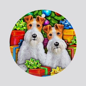 Wire Fox Terrier Open Gifts Round Ornament