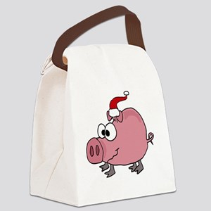 Christmas Pig Canvas Lunch Bag