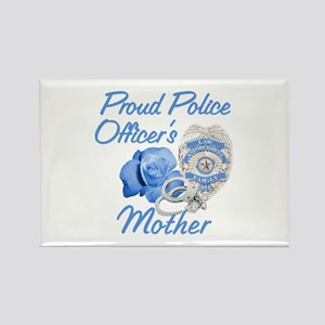 Blue Rose Police Mother Rectangle Magnet