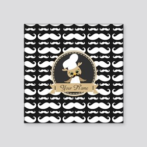 """Whimsical Owl Chef Musctach Square Sticker 3"""" x 3"""""""