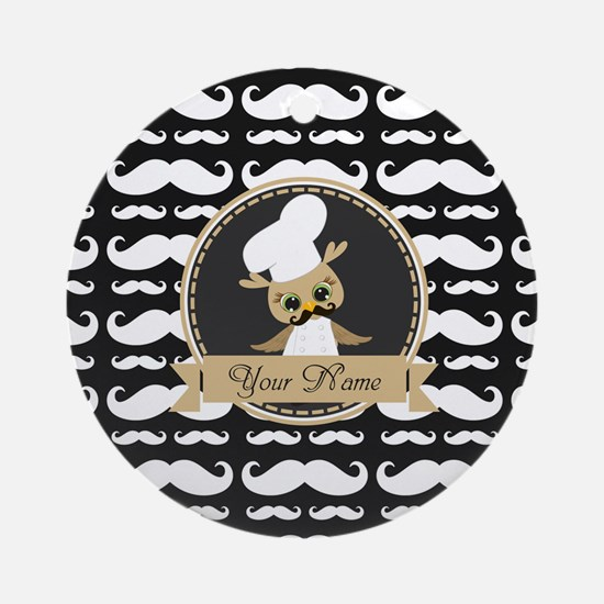 Whimsical Owl Chef Musctache Pers Ornament (Round)