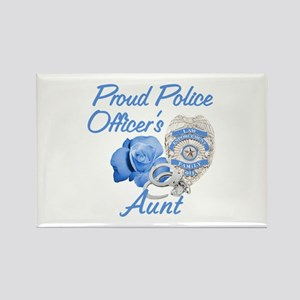 Blue Rose Police Aunt Rectangle Magnet