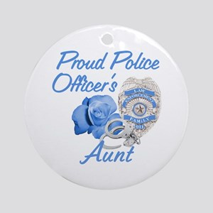 Blue Rose Police Aunt Ornament (Round)