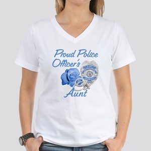 Blue Rose Police Aunt Women's V-Neck T-Shirt