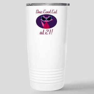 Cool Cat 21st Birthday Stainless Steel Travel Mug