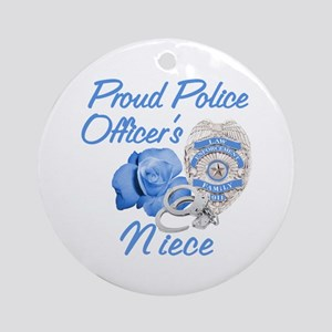 Blue Rose Police Niece Ornament (Round)
