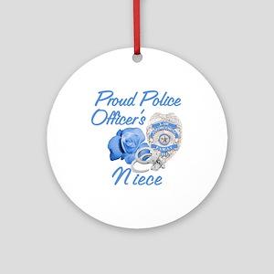 Blue Rose Police Niece Ornament (Round)