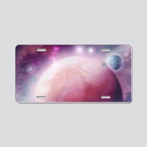 Pink Space Dream Aluminum License Plate