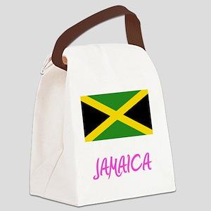 Jamaica Flag Artistic Pink Design Canvas Lunch Bag
