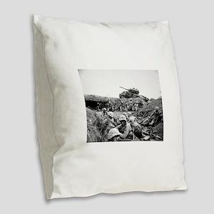 iwo jima Burlap Throw Pillow