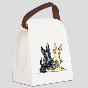 Scottie Gingham Cuties Canvas Lunch Bag