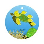 Green Sea Turtle and Tangs Ornament (Round)