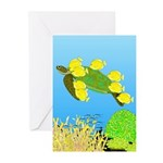 Green Sea Turtle and Tangs Greeting Cards