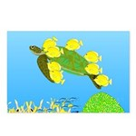 Green Sea Turtle and Tangs Postcards (Package of 8