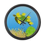 Green Sea Turtle and Tangs Large Wall Clock