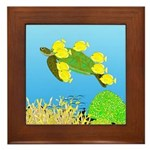 Green Sea Turtle and Tangs Framed Tile