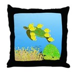 Green Sea Turtle and Tangs Throw Pillow