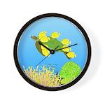 Green Sea Turtle and Tangs Wall Clock