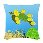 Green Sea Turtle and Tangs Woven Throw Pillow