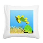 Green Sea Turtle and Tangs Square Canvas Pillow