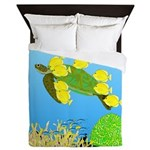 Green Sea Turtle and Tangs Queen Duvet