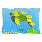 Green Sea Turtle and Tangs Pillow Case