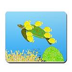Green Sea Turtle and Tangs Mousepad