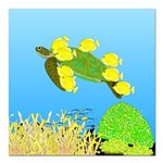 Green Sea Turtle and Tangs Square Car Magnet 3