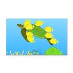 Green Sea Turtle and Tangs Rectangle Car Magnet