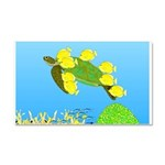 Green Sea Turtle and Tangs Car Magnet 20 x 12