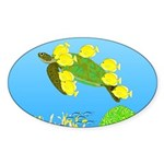 Green Sea Turtle and Tangs Sticker