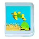 Green Sea Turtle and Tangs baby blanket