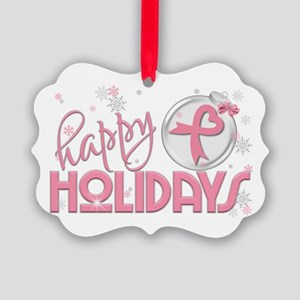 Happy Holidays (breast Cancer) Picture Ornament